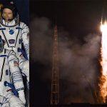Tres astronautas despegan hacia la Estación Espacial Internacional con un balón del Mundial