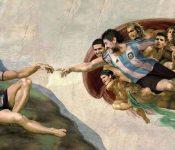 Maradona es Dios y Messi es Adán en mural de club argentino