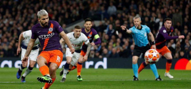 "El ""Kun"" Agüero falla un penal ante Tottenham"