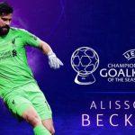 Alisson Becker, elegido como mejor portero de la Champions League 2018-2019