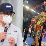 Presidente Juan Orlando Hernández felicita a Téofimo López, campeón mundial ligero