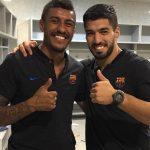 Suárez e Iniesta felicitan a Paulinho por su primer gol con el Barcelona