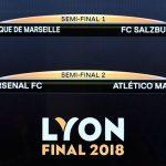 Arsenal-Atlético y Olympique-Salzburgo en semifinales de Europa League